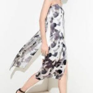Helmut Lang abstract floral strapless dress